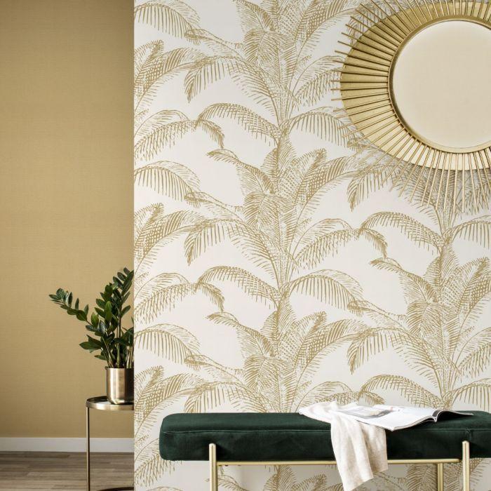 Pandore Palm Leaves Wallpaper White Gold Rasch 406818 In 2021 Palm Leaf Wallpaper White And Gold Wallpaper Leaf Wallpaper