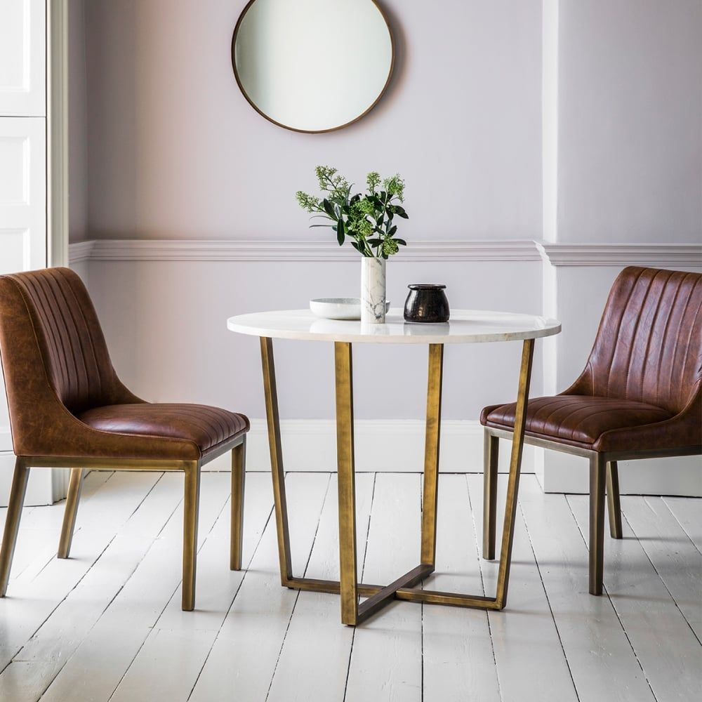 Gatsby Round Marble Dining Table White And Gold Dining Table