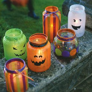 Cute use for old jars and tissue paper.
