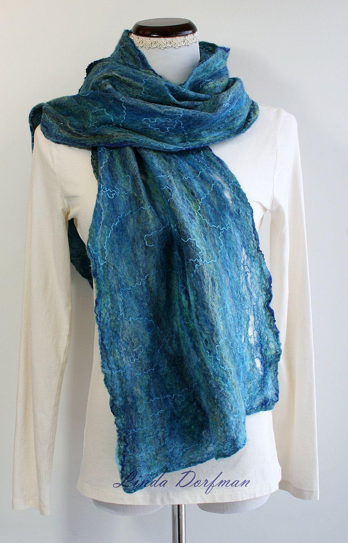 Turquoise Blue Green Felt Scarf,Wet Felted Wool Scarf,Cobweb Silk ...