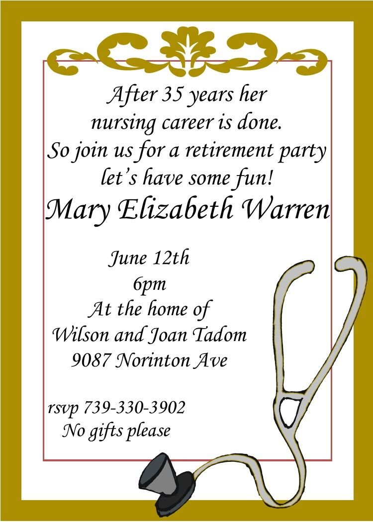 Nursing Retirement Party Invitations Custom Made  Retirement