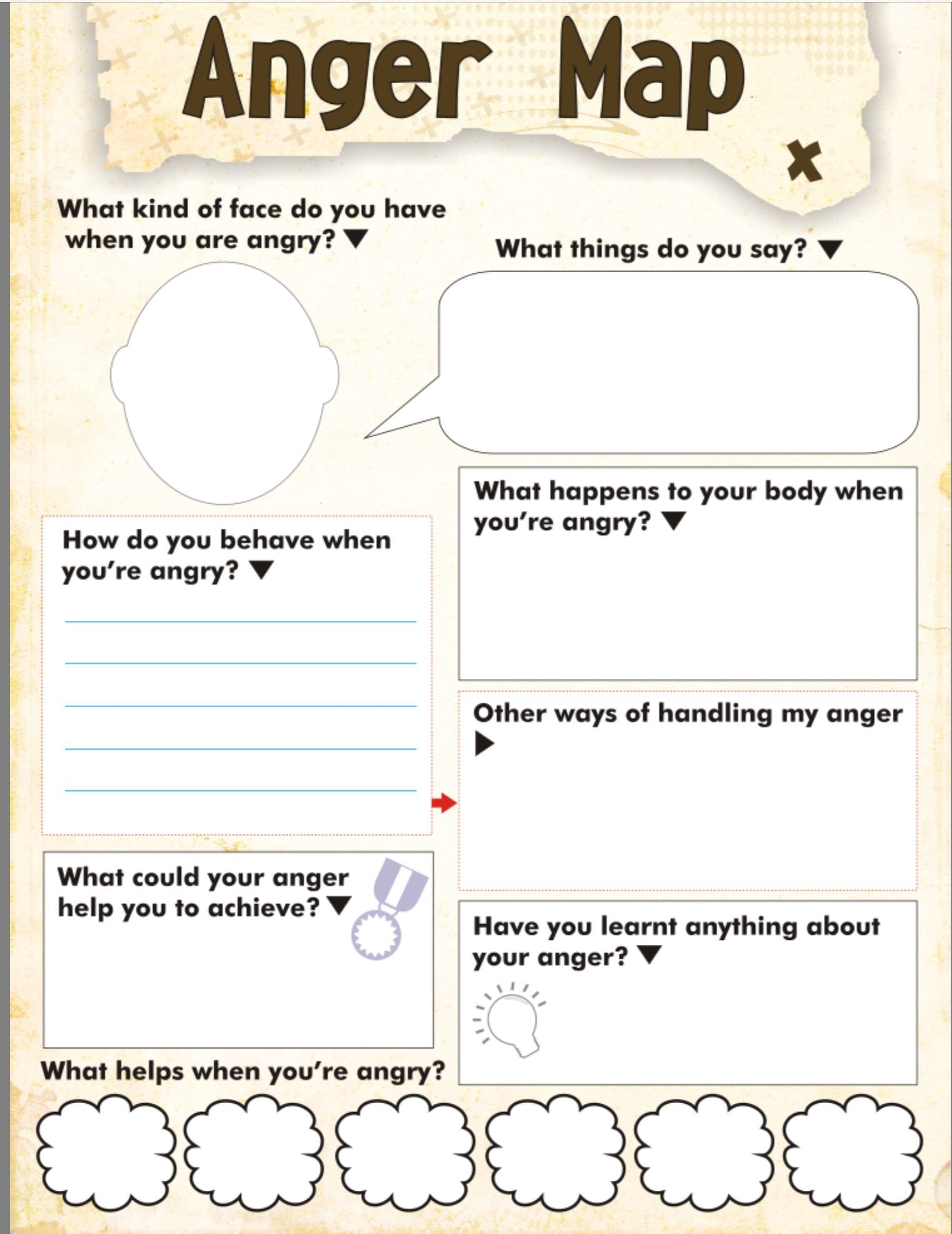 Anger map kids worksheet free printable – Anger Worksheet