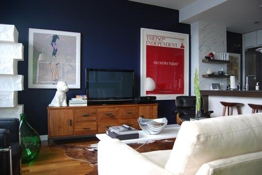 Dark Blue And White Color Scheme Living Room Google Search Living Room Tv Wall Living Room Tv Industrial Style Living Room