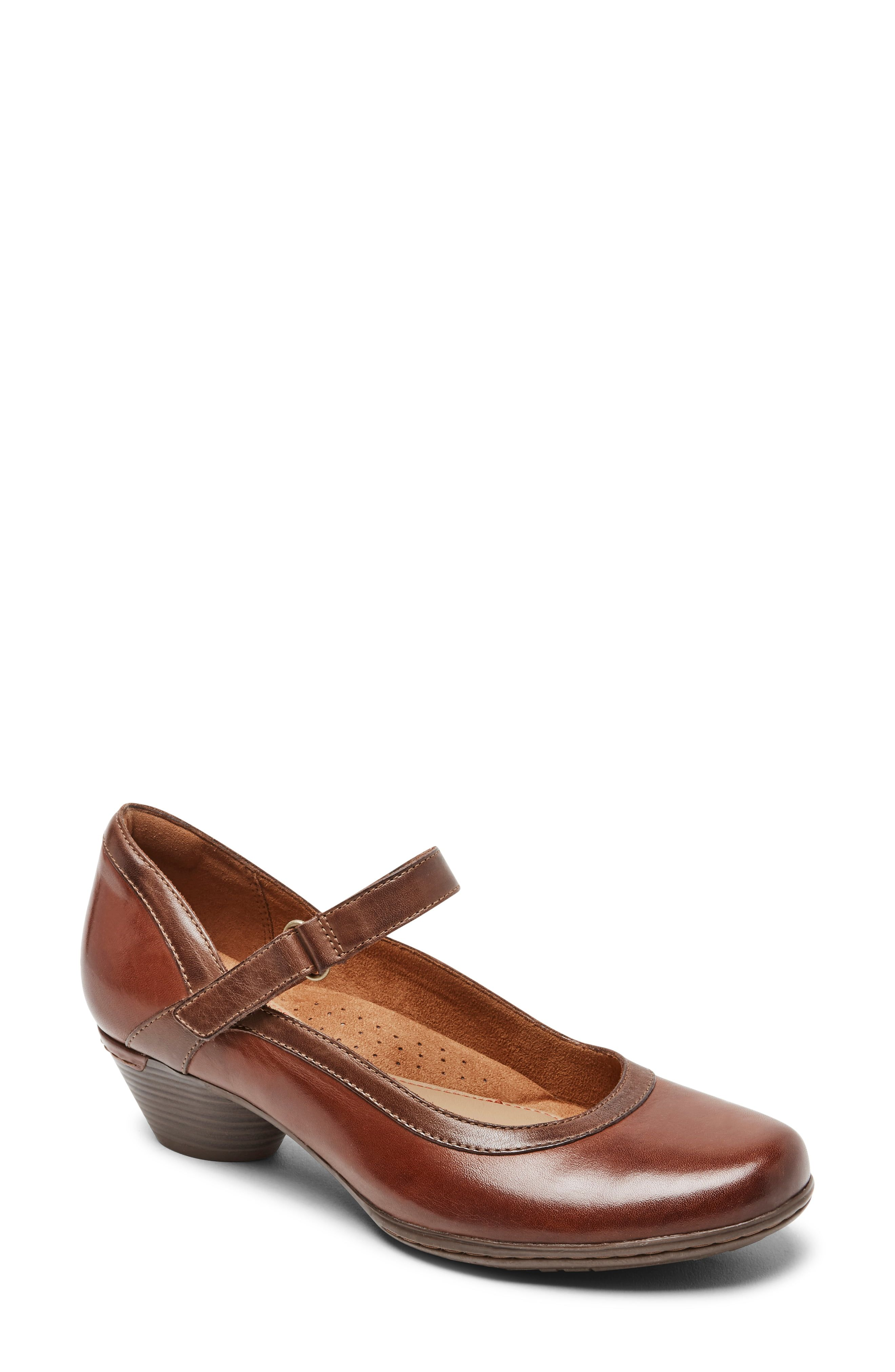 Two-tone detailing accents this secure Mary Jane grounded by a lightly cushioned footbed. Style Name:Rockport Cobb Hill Laurel Mary Jane (Women). Style Number: 6128577. Available in stores.