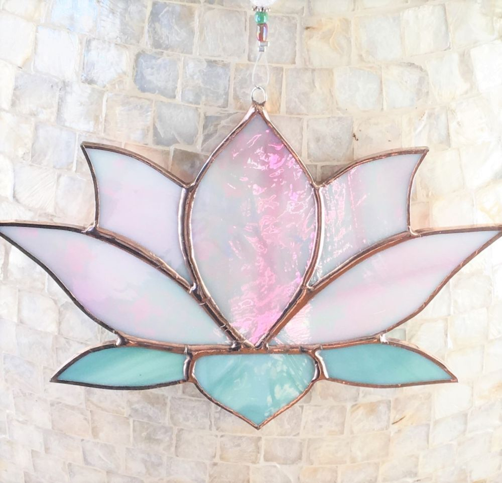 Stained Glass Pink Irridescent Lotus Flower Sun Catcher Mosaic And