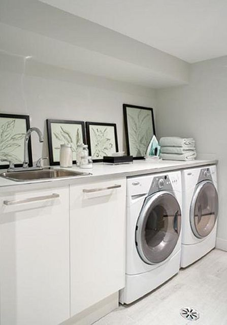Counter Top Over Washer And Dryer And Utility Sink Add Shelf