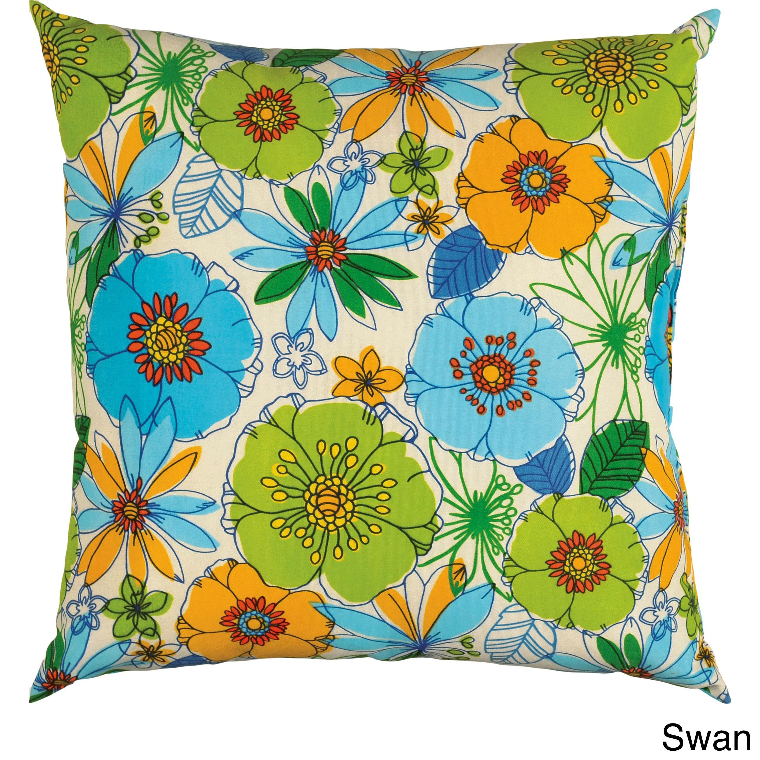 Rizzy Home Similan 22-inch Indoor/Outdoor Accent Pillows (Swan), Blue, Size 22 x 22 (Polyester, Floral)