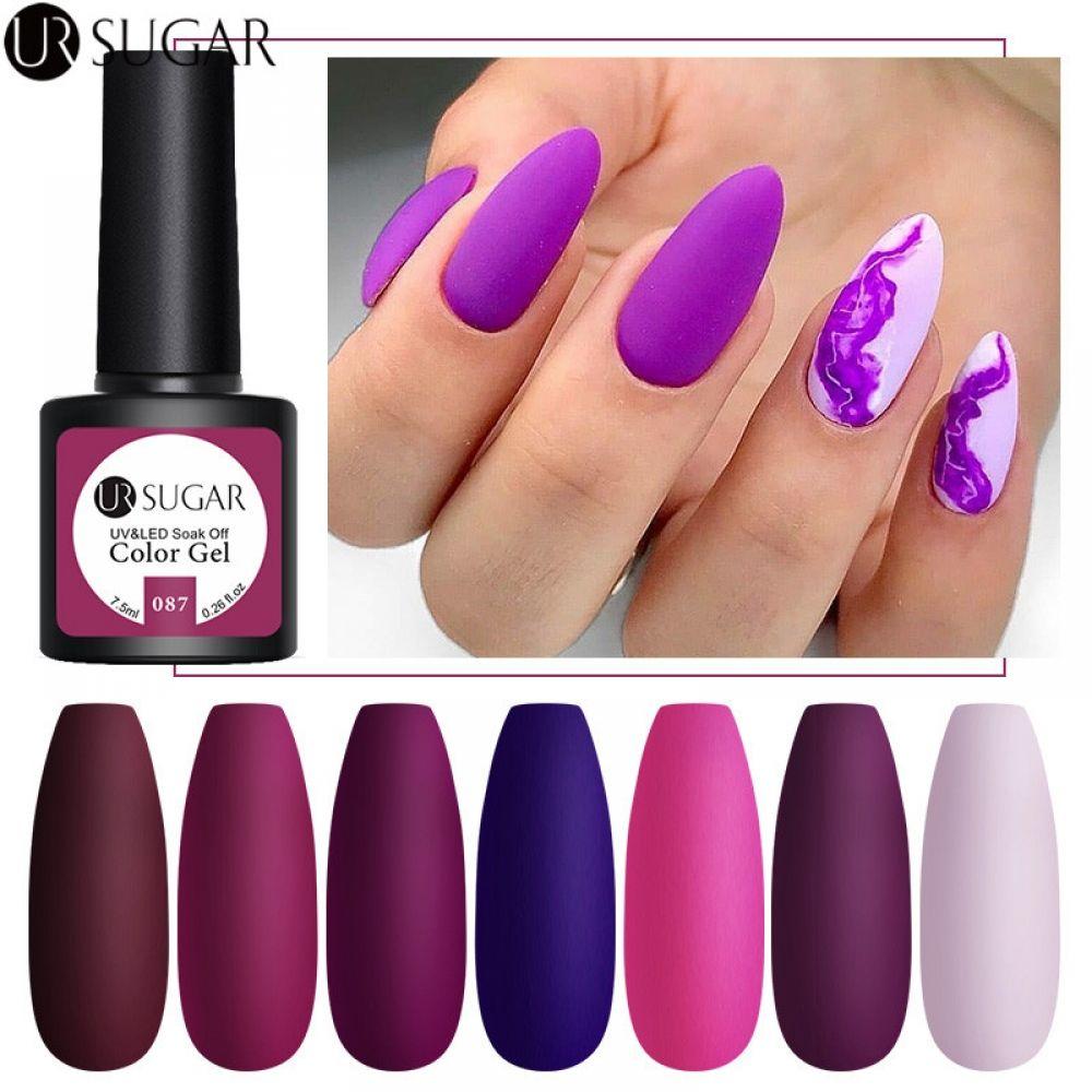UR SUGAR 7.5ml Matte Nail Gel Polish Purple Series | Hard