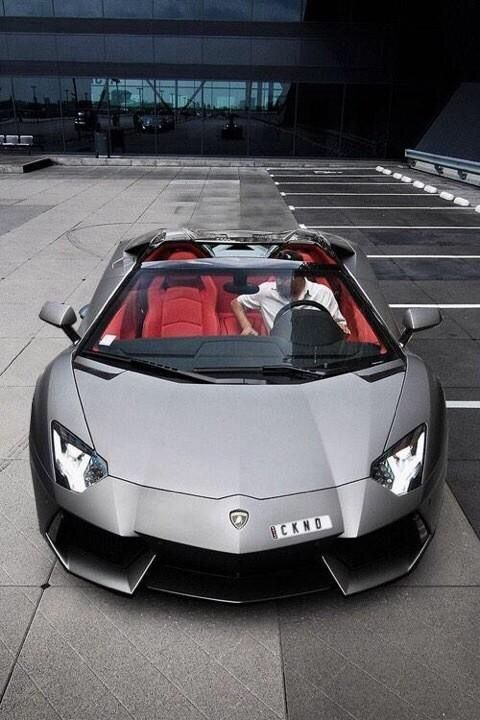 Matte Grey Lambo With Red Interior Vroom Cars Luxury Cars