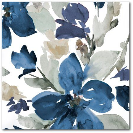 Courtside Market Glorious Blue Blooms Ii 24 Inchx24 Inch Gallery Wrapped Canvas Wa Floral Watercolor Paintings Blue Watercolor Wallpaper Blue Watercolor Floral