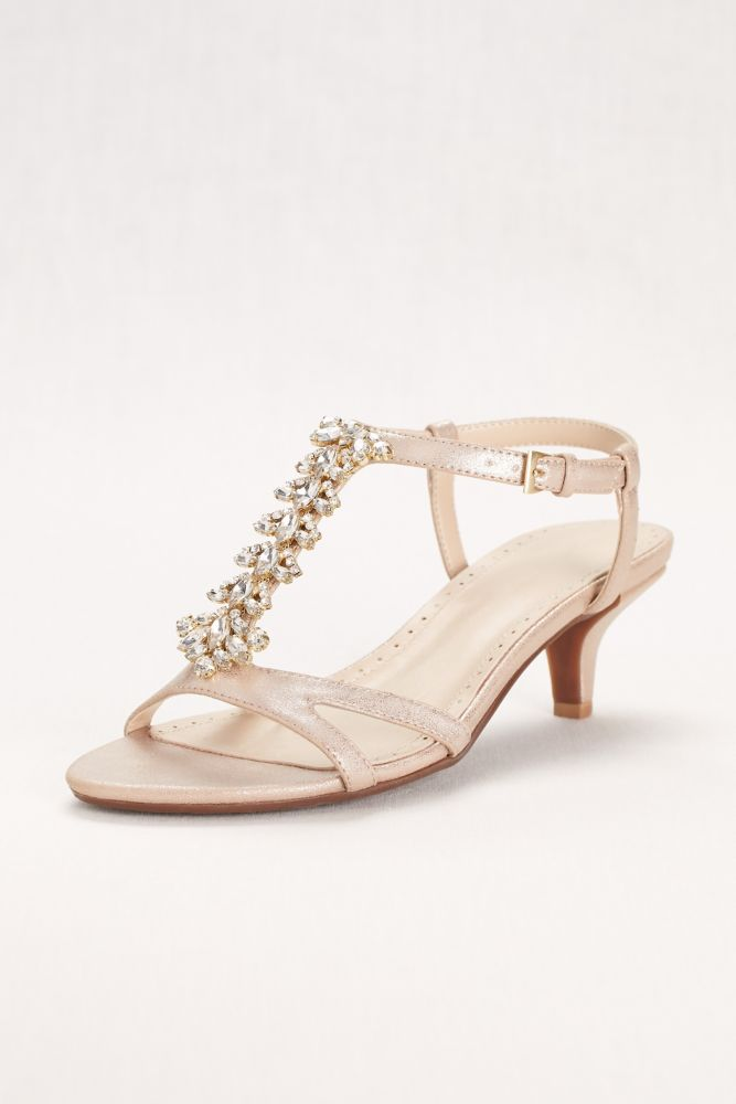 54a1d9367 Crystal T-Strap Low Heel Sandal - Champagne (Yellow)
