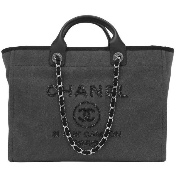 bf640cd7727 Chanel Large Charcoal Canvas With Sequins Deauville Tote (6 530 AUD) ❤  liked on Polyvore featuring bags, handbags, tote bags, sequin handbags, ...
