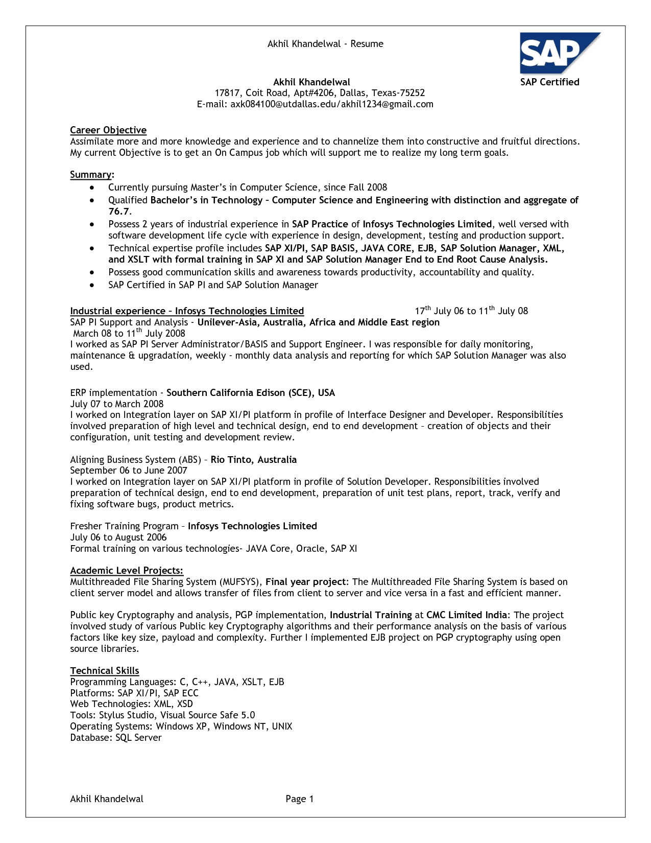 sap basis resume templates