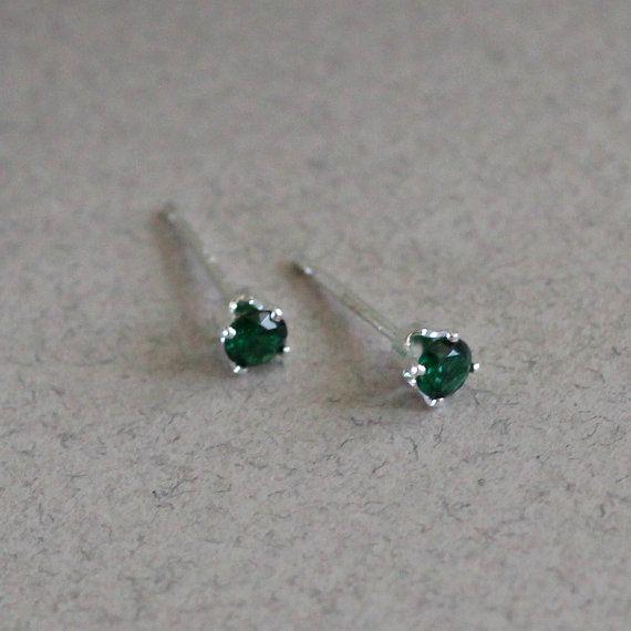 1f444fe9f Emerald Stud Earrings-Emerald Studs-3mm Stud Earrings-3mm Studs-May  Birthstone Stud Earrings-Tiny Gr