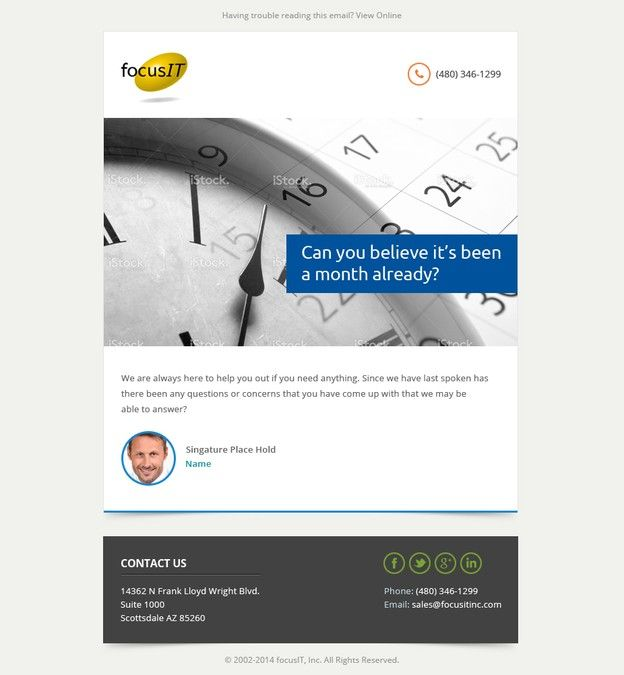 Create Keep In Touch Email Template For Focusit Email Contest Email Template Email Design Templates
