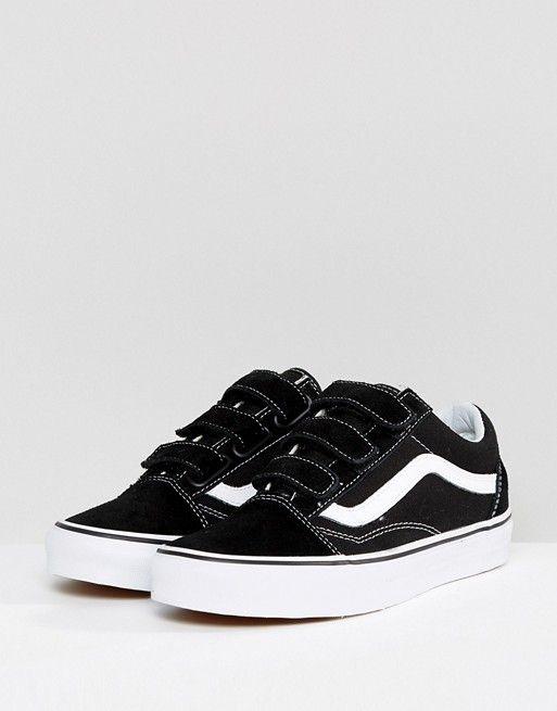 Vans | Vans - Old Skool - Baskets à velcro - Noir et blanc ...