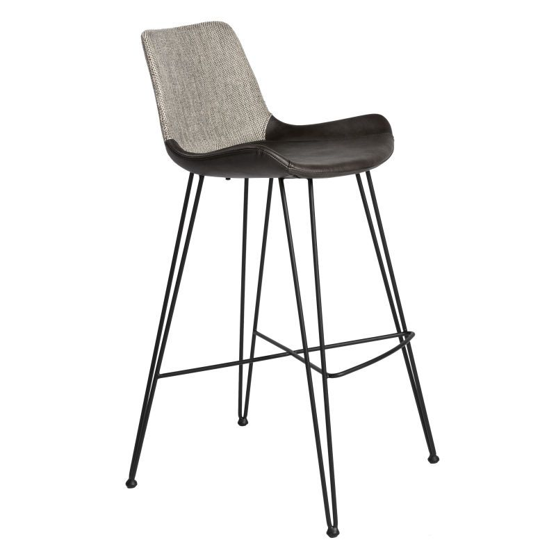 Alisa B Bar Stool In Light Gray Fabric With Matte Black Legs In 2021 Counter Stools Bar Stools Grey Bar Stools Dark grey bar stools