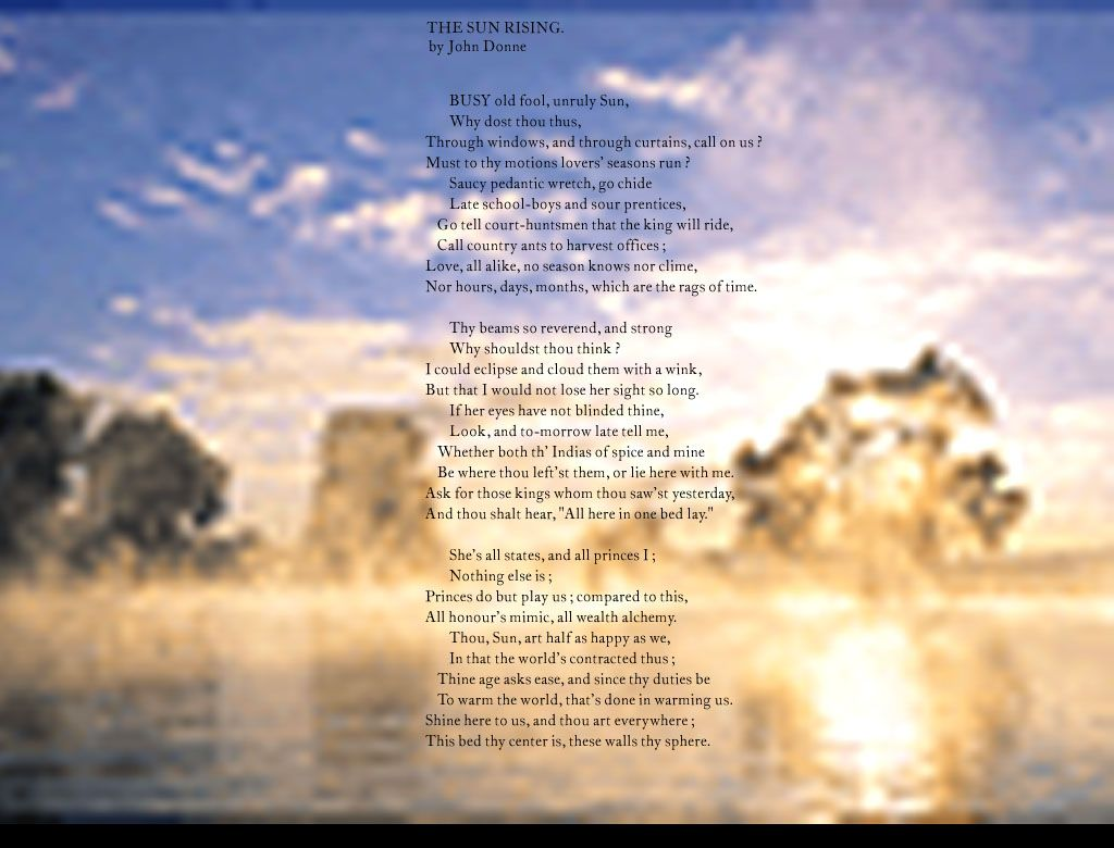 Pin On Mari S Curated Library The Sun Rising Analysi John Donne