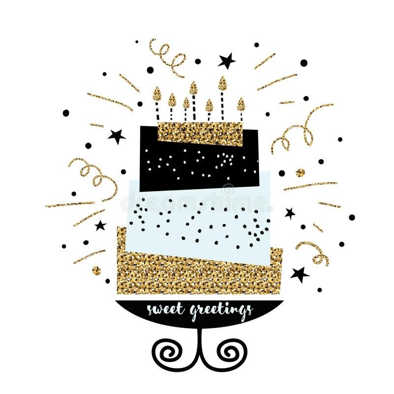 Cute Cake With Happy Birthday Wish Modern Greeting Card Template Pertaining To Modern Birthday C Birthday Card Template Modern Birthday Greeting Card Template