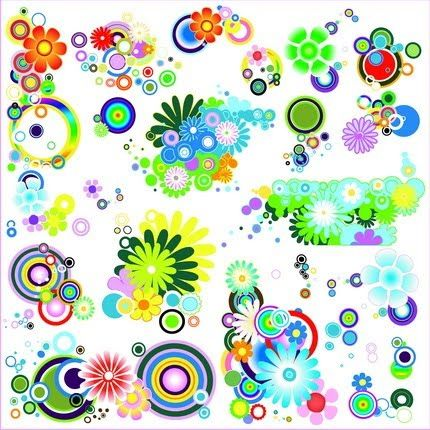 Circles and Flowers Vector Graphics