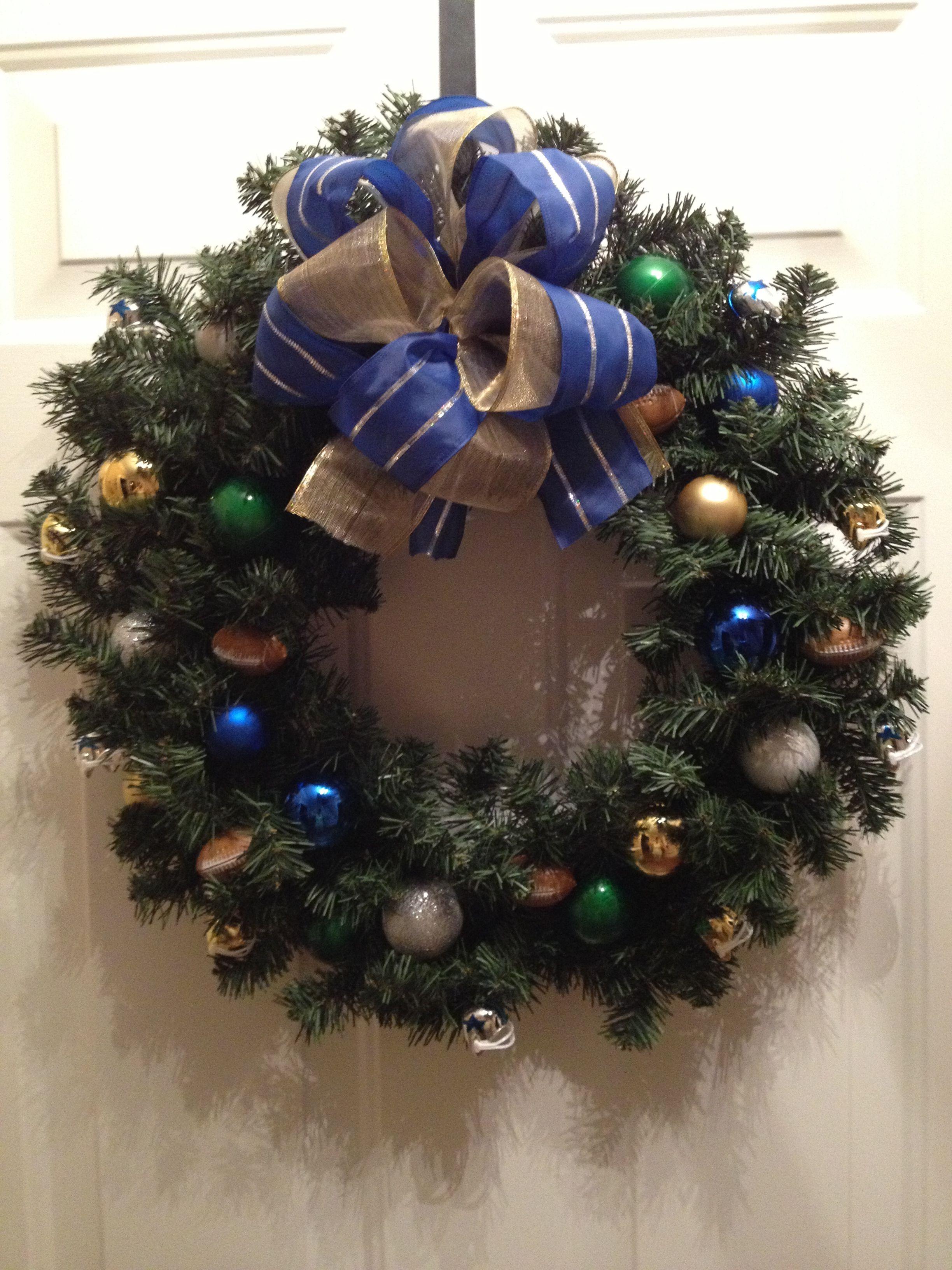 Homemade dallas cowboys/notre dame football Christmas wreath   Cute ...