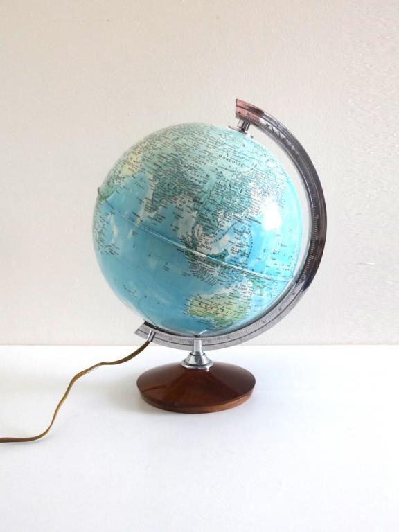 Top Lampe globe terrestre vintage années 70   Around the World (Globes EN09