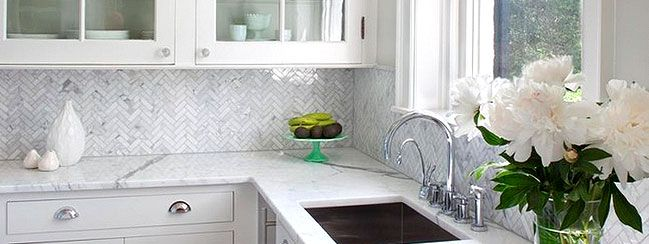 White Kitchen Herringbone Backsplash herringbone gray backsplash | herringbone carrara white marble