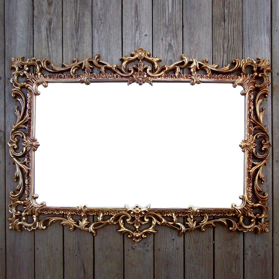 Extra Large Vintage Gold Syroco Mirror Ornate Rectangular