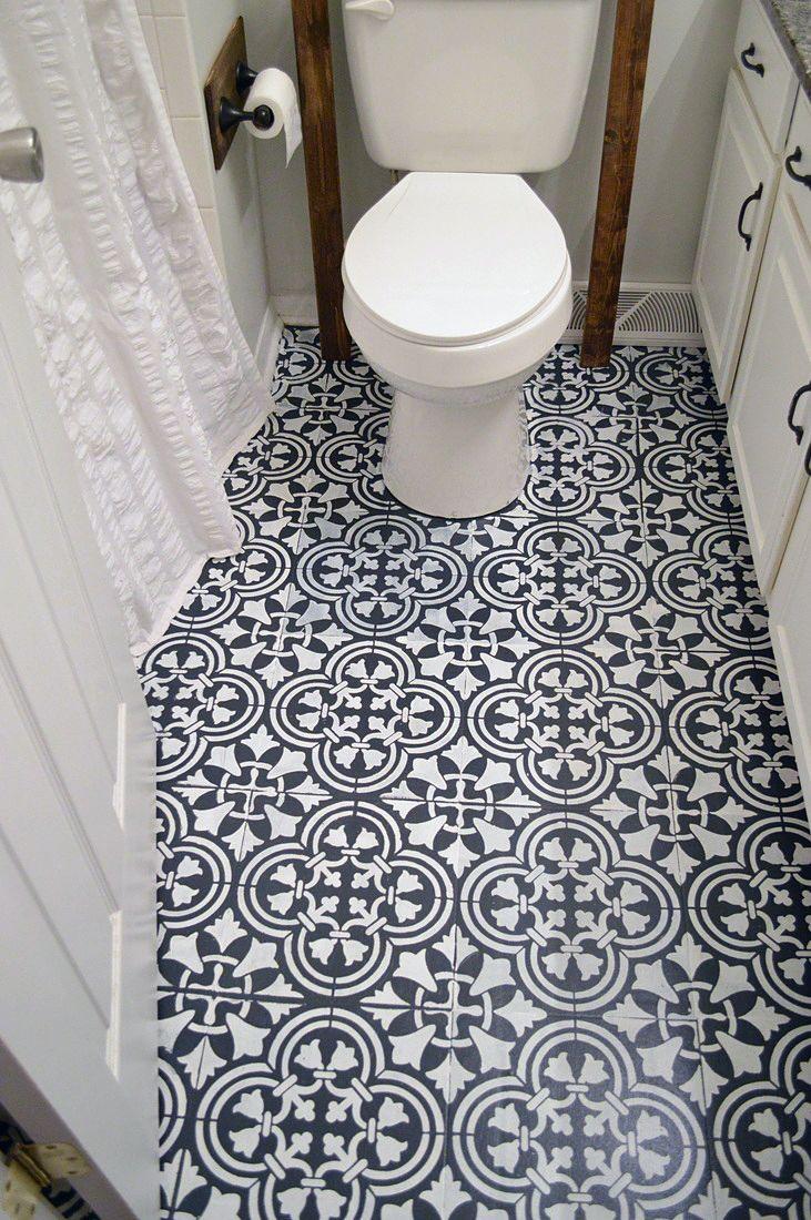 How To Stencil A Tile Pattern On A Bathroom Floor Stencil Stories Painted Bathroom Floors Diy Flooring Flooring