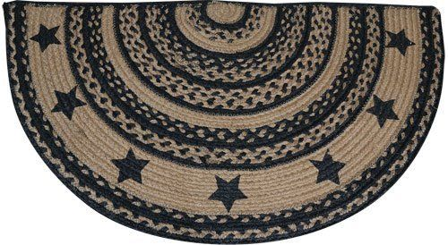 Rug Braided Jute Farmhouse Star Half Circle Shaped Rug Black Tan Primitive Country Rustic By Cw 17 49 It Is 16 1 2 X Country Primitive Rugs Circle Rug