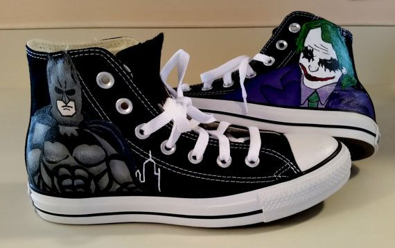 b6f8227be166 hand painted converse Batman Joker shoes Perfect for the Groom and his guys  at your wedding. Girls...you could have Catwoman or penquin...just contact  me.