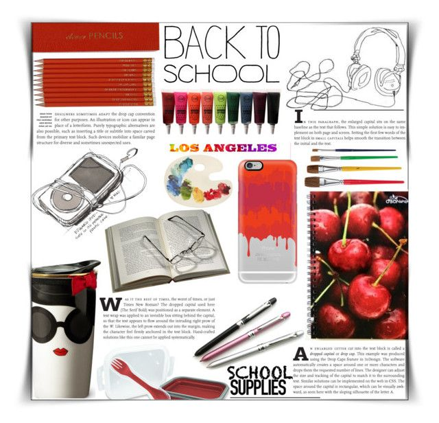 """""""School supplies"""" by dolly-valkyrie ❤ liked on Polyvore featuring interior, interiors, interior design, home, home decor, interior decorating, Sloane Stationery, Alice + Olivia, LA CITY and Casetify"""
