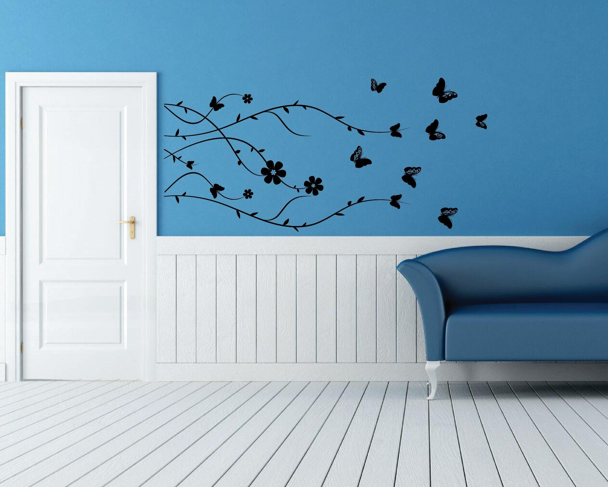 Black butterfly wall decals on a blue wall wall decal australia black butterfly wall decals on a blue wall amipublicfo Image collections