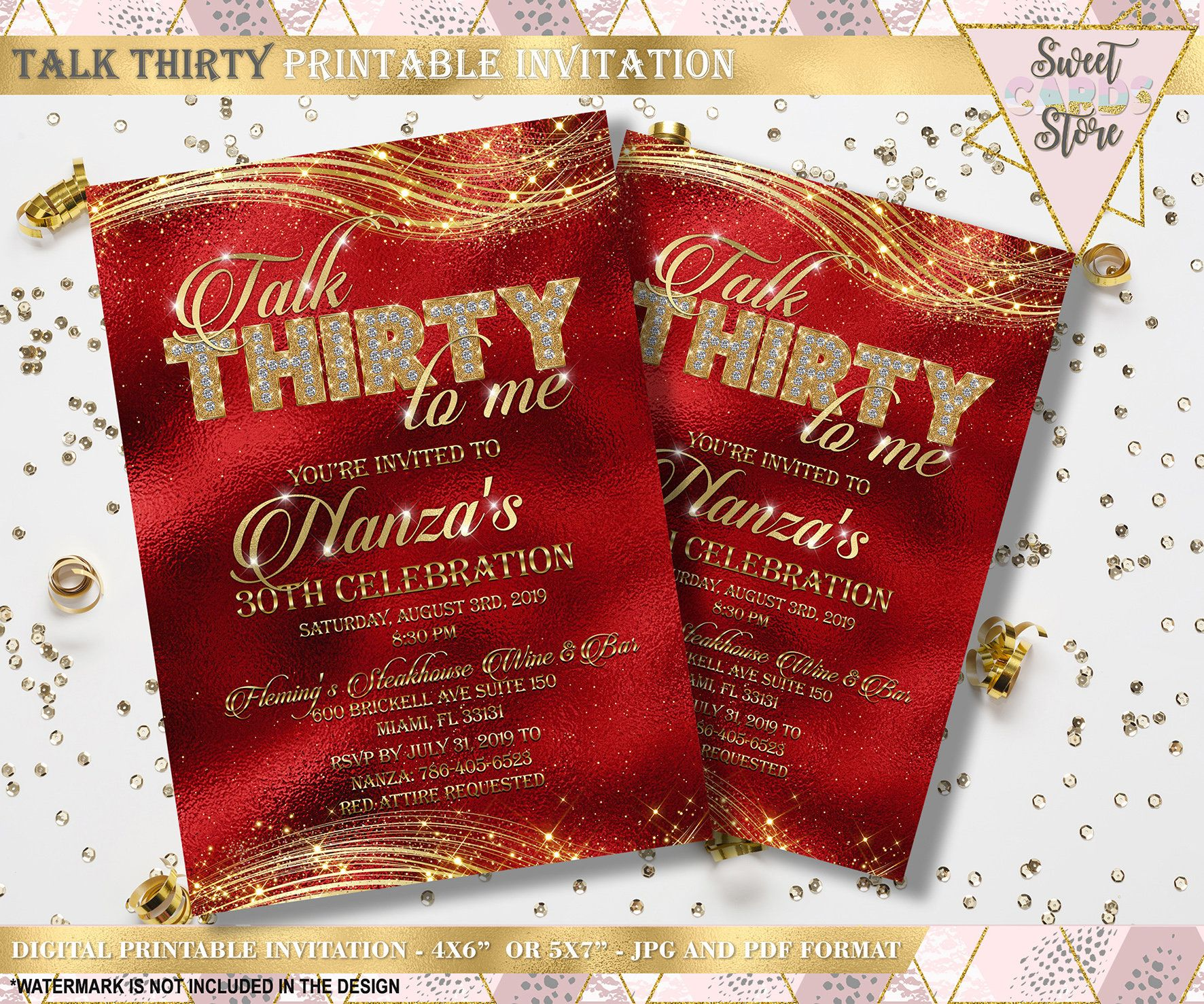Talk Thirty To Me Printable Invitation 30th Birthday Etsy In 2020 Printable Invitations Glitter Invitations 30th Birthday Invitations