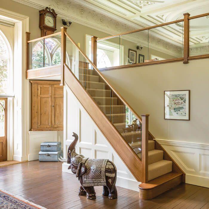 Dark Oak In-Line Glass Staircase