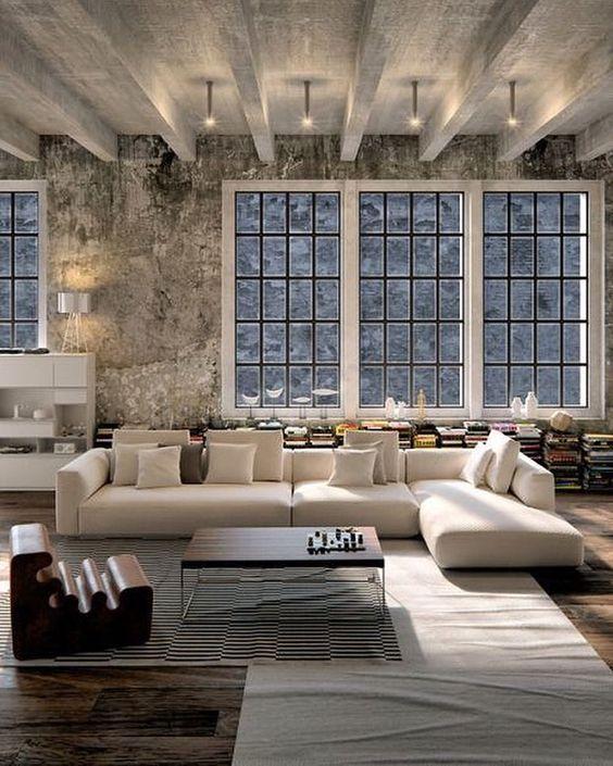 Loft Innenarchitektur, Innenarchitektur, Wohnzimmer Ideen, Loft Wohnzimmer,  Industrie Stil Wohnzimmer, Rustikal Funktionell, Moderne Zeitgenössische,  ...