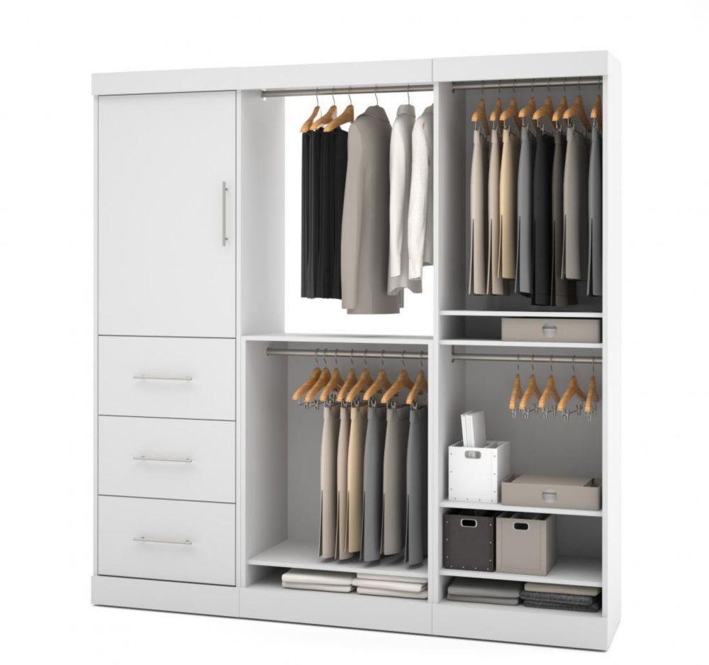 Nebula 80 Inch Storage Kit With 3 Drawers White Storage Kits Closet System Closet Organizing Systems