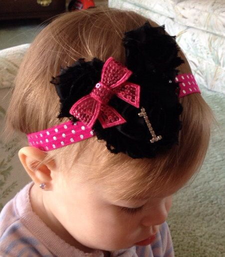 Hot Pink and Gold Minnie Mouse inspired headband,first birthday