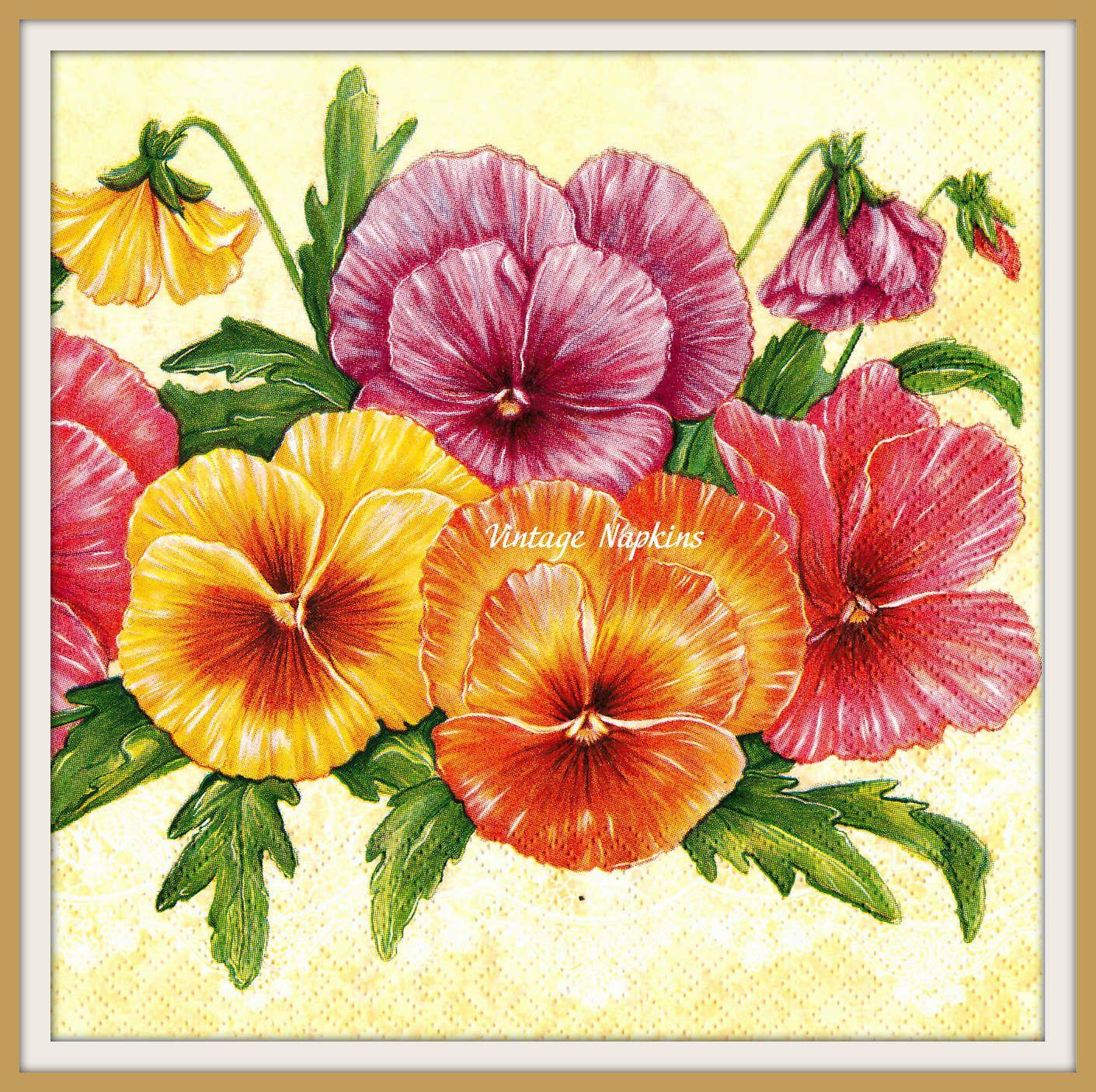 SALE *** TWO Paper napkins for DECOUPAGE - Vintage Multicolor Flowers by VintageNapkins on Etsy