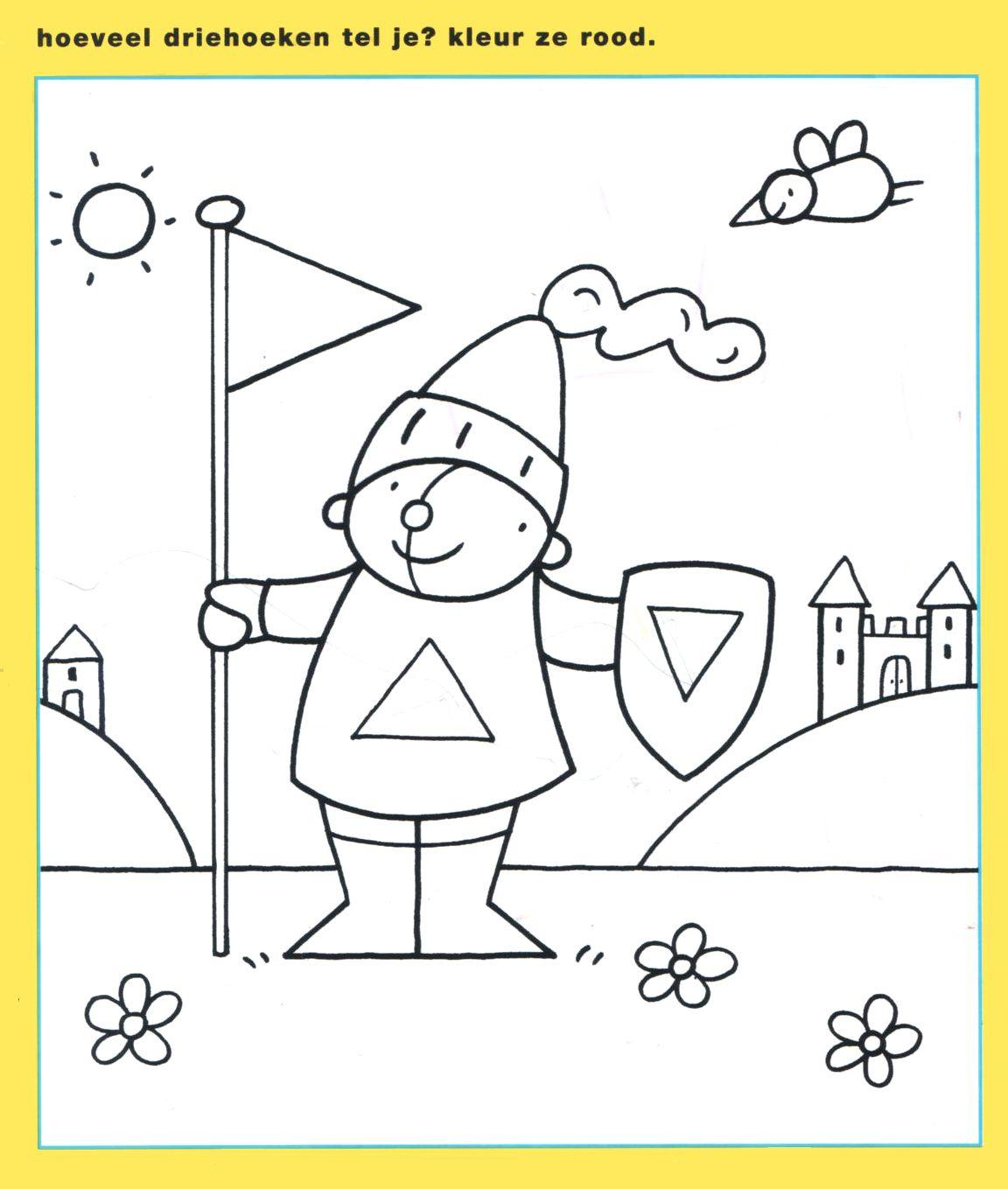 Werkblad Vormen En Kleuren Ridders Prinsessen Thema