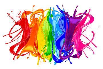 Colorful Wild Rainbow Color Splash Isolated On White