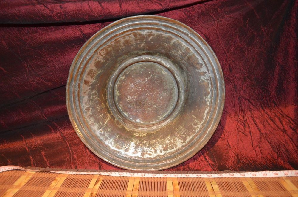 Antique Vintage Solid Copper Plate Platter Shallow Bowl 14 X2 3 4 Copper Plated Copper Plates