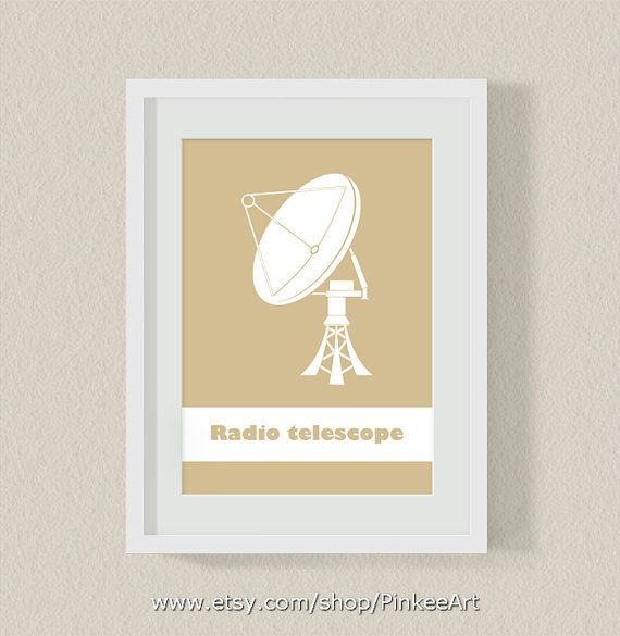 radio telescope boy room print, outer space kids wall art, childrens ...