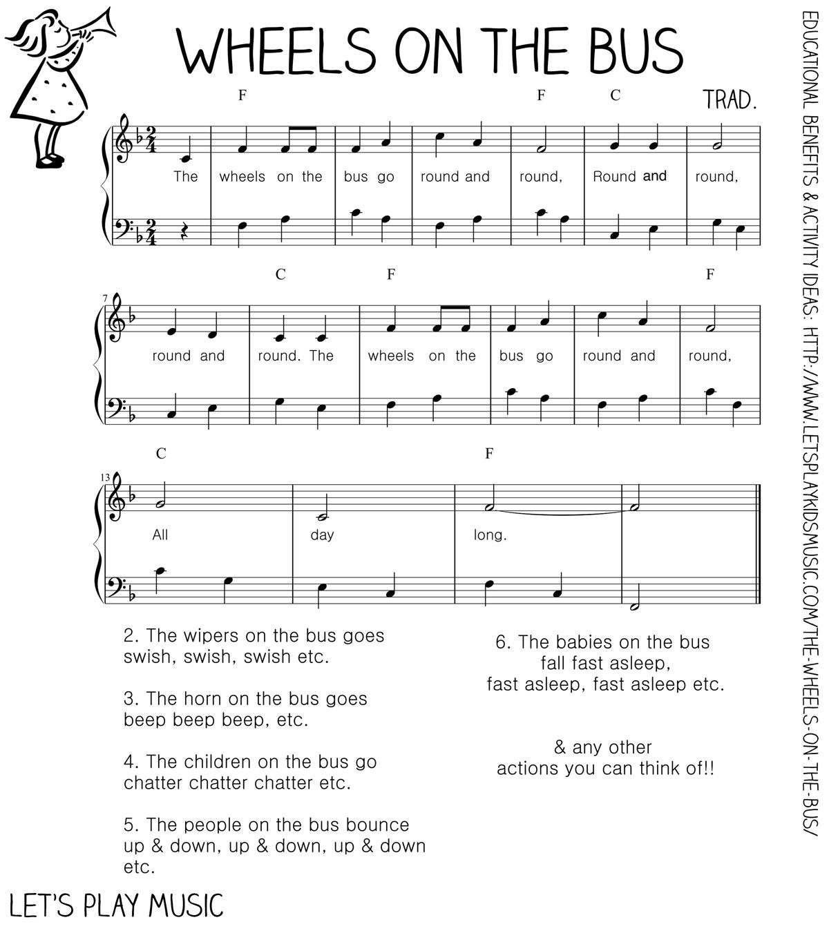 The Wheels On The Bus Action Song With Images Piano Sheet