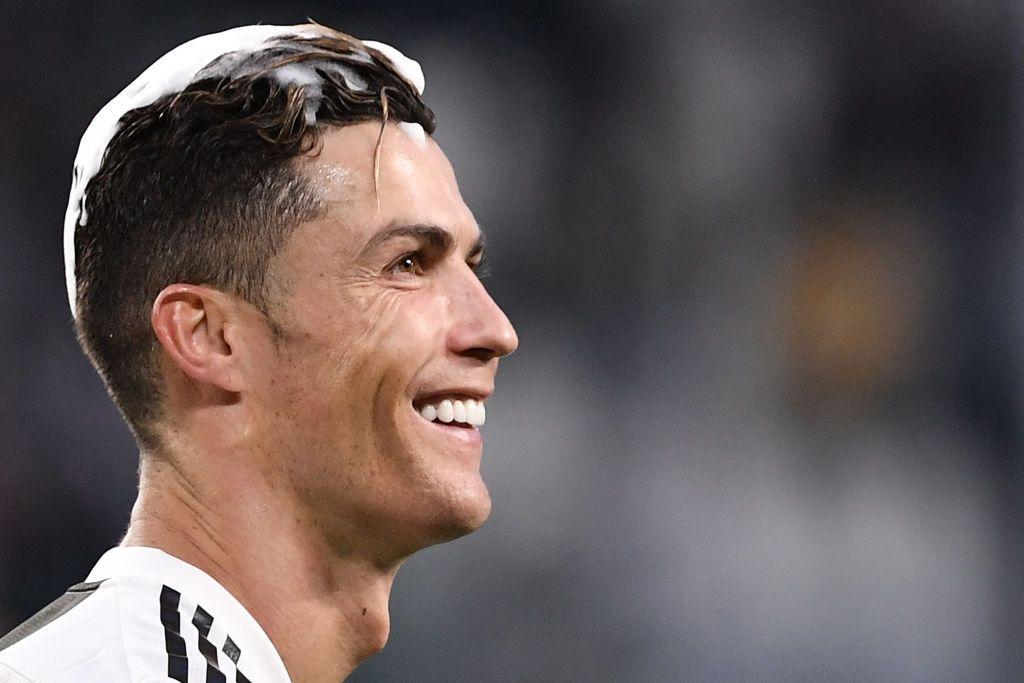 Juventus Portuguese Forward Cristiano Ronaldo His Hair Covered