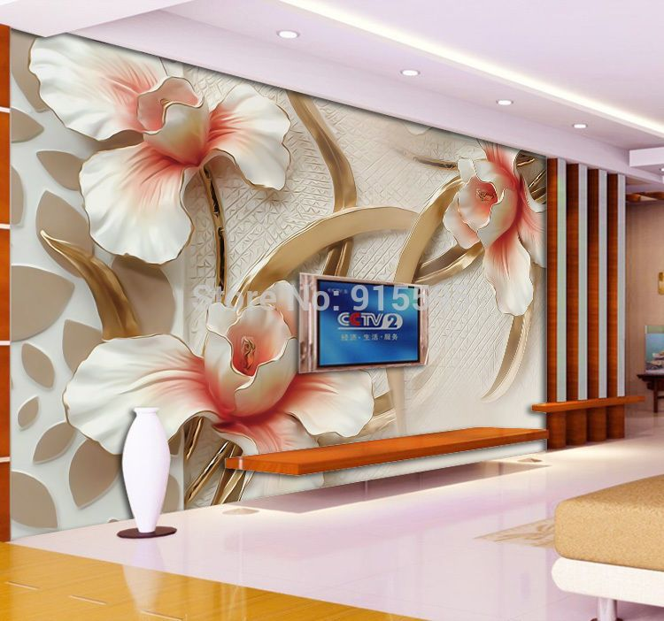3d wallpaper bedroom mural roll modern lily flower large for Best 3d wallpaper for bedroom