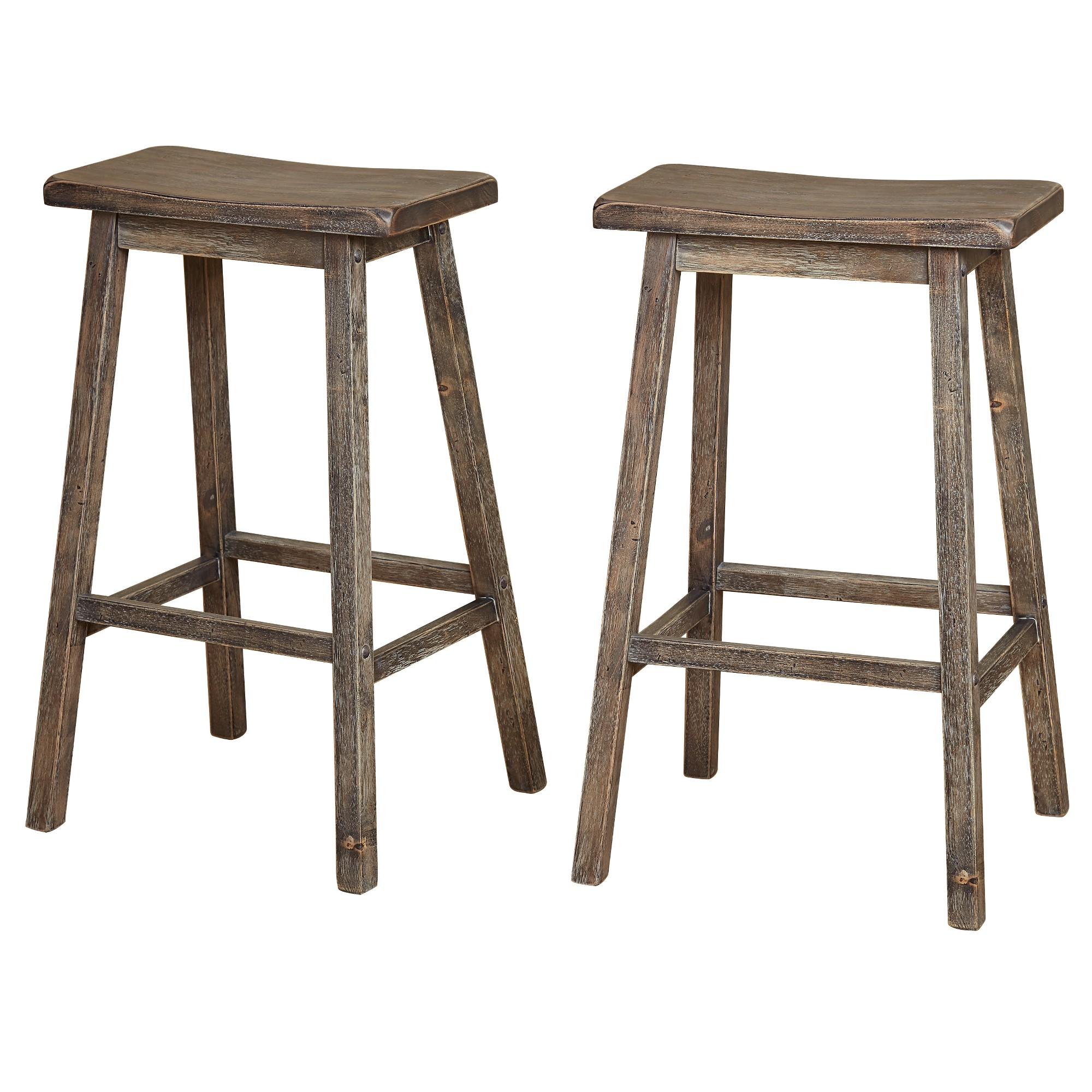 These 24 Inch High Padded Stools In White With Gray Upholstered