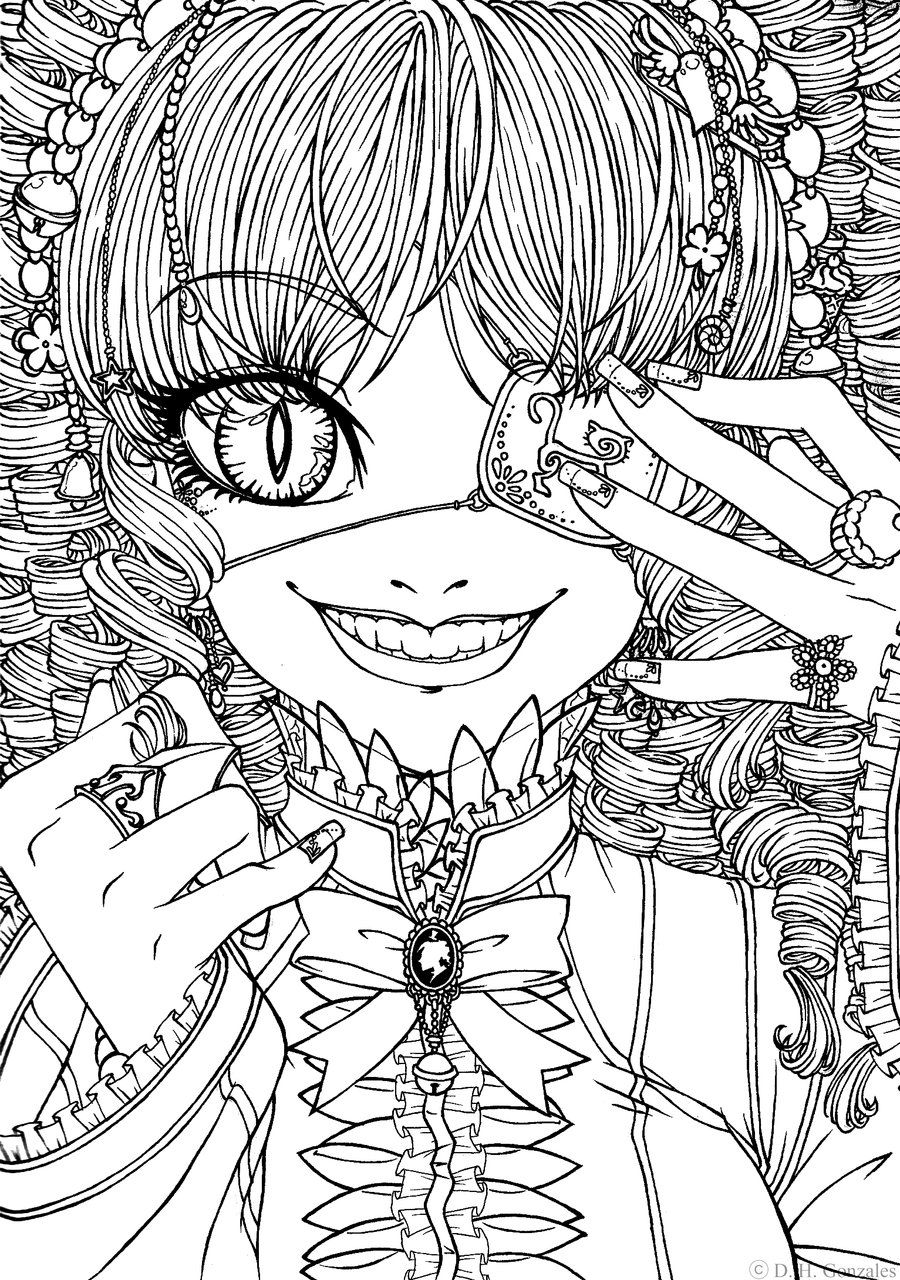 Cat Eyed Gothic Lolita. I want to print this out and color it ...