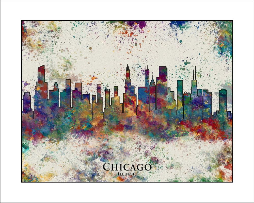 CHICAGO Skyline Chicago Chicago Map Map of by WaterColorMaps