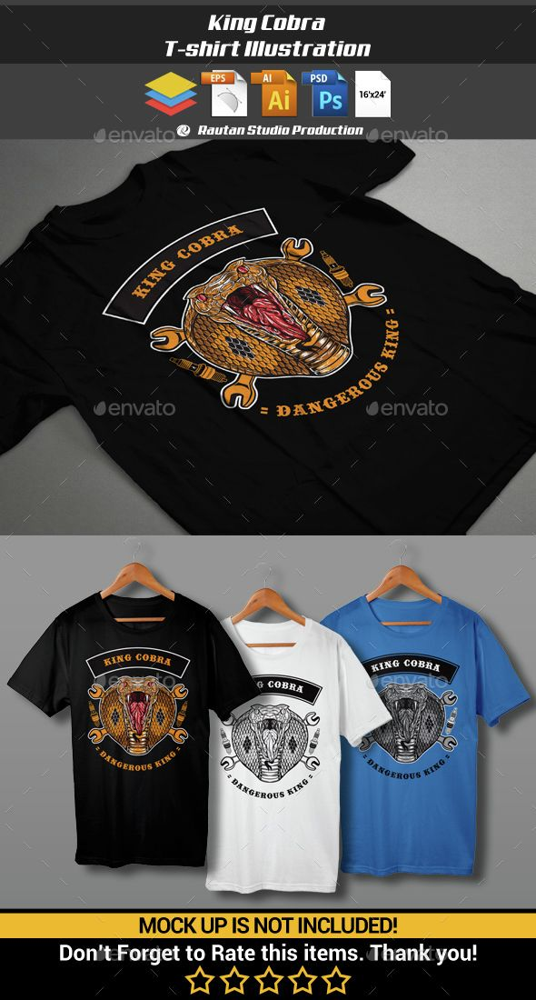 1512e3fc King Cobra T-Shirt Illustration Template. Download here: http://graphicriver
